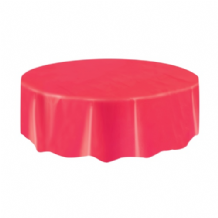 Red Table Cloth - Plastic Round Tablecover 1pc